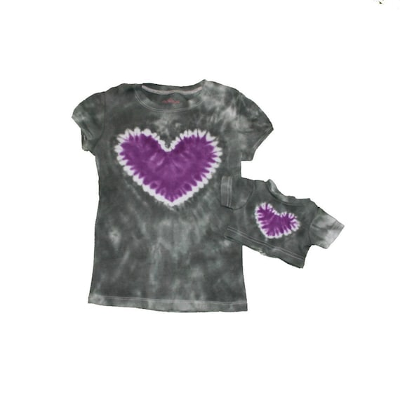 Matching Girl and Doll Gray with a Purple Heart Tie Dye Shirt Set- Fits American Girl and Bitty Baby Dolls
