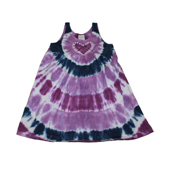 Tie Dye Dress in Navy and Lavender with a Purple Heart Empire Waist Sundress