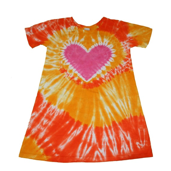Girls Dress in Orange and Yellow with a Hot Pink Heart Tie Dye