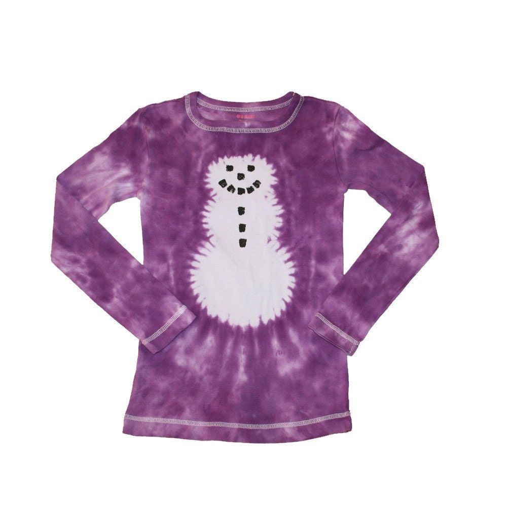 Snowman shirt for girls in purple tie dye girls size 6 and for Ties that go with purple shirts