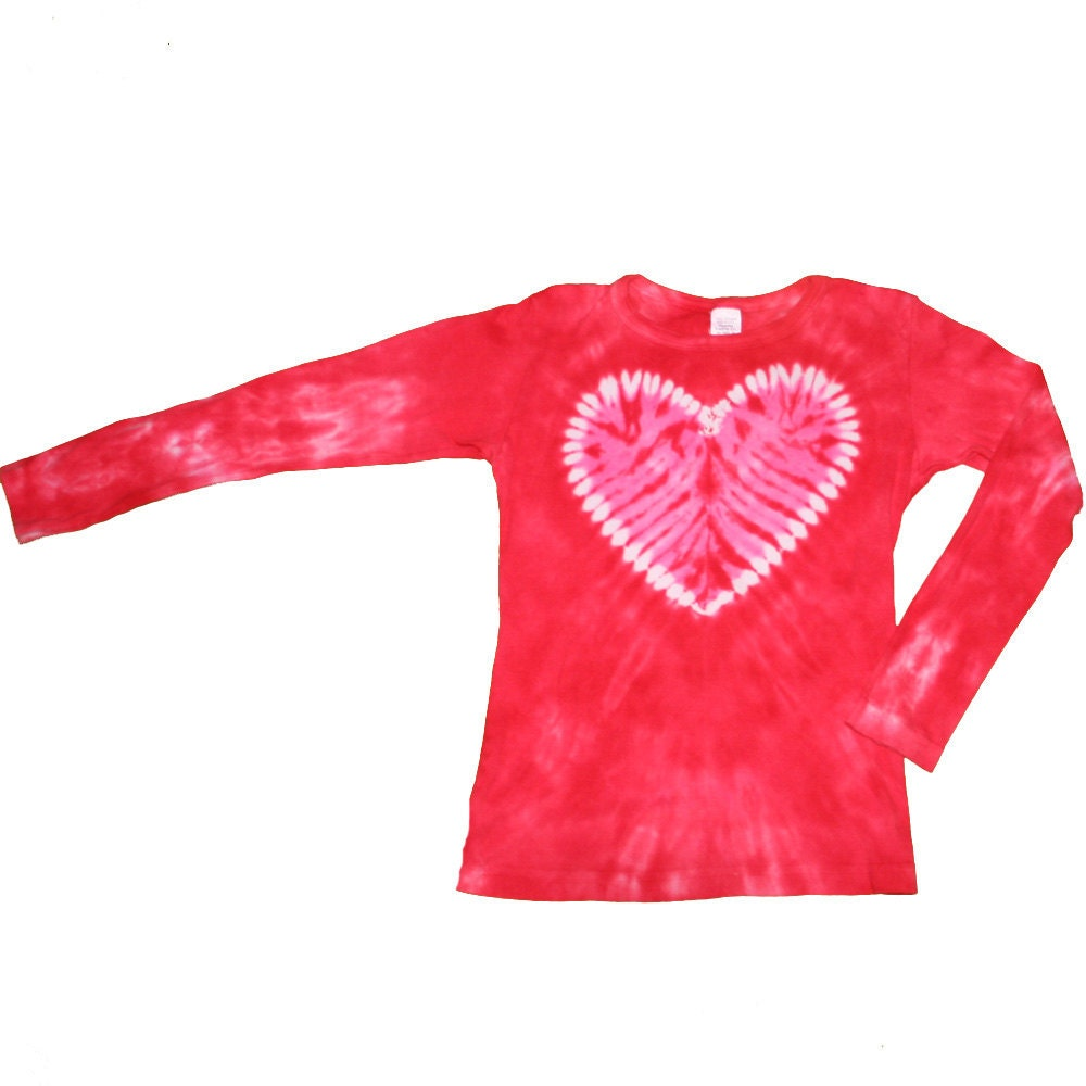 Heart shirt in red with a pink heart tie dye shirt for girls for How to dye a shirt red