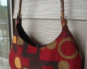 Wood Handle Bag- Red Tapestry