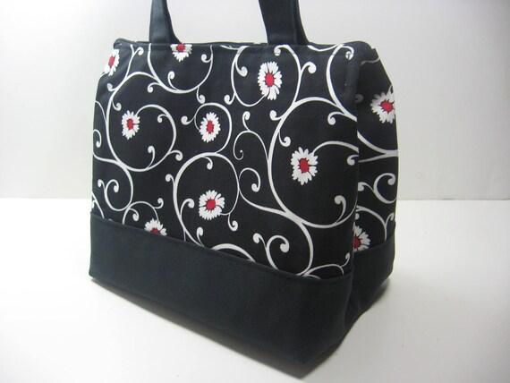 Insulated Lunch Bag Purse - Daisy Swirls