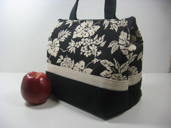 Insulated Lunch Bag Purse - Ebony and Ivory