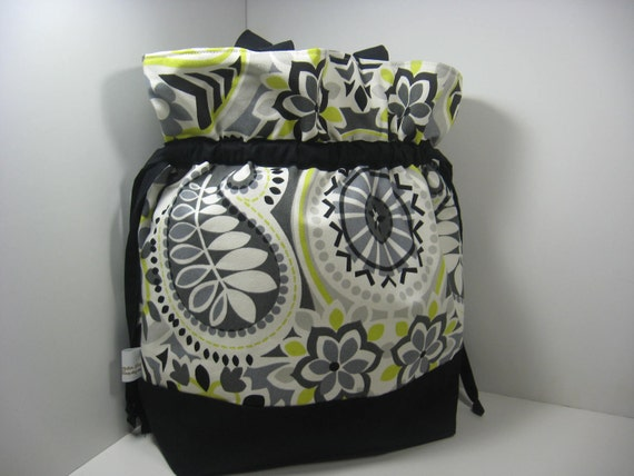 Insulated Lunch Bag Tote, Large - Paisley Grey and Chartreuse