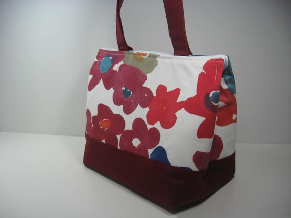 Insulated Lunch Bag Purse - Petals