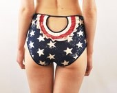 Panties with stars and stripes rosette open back lingerie
