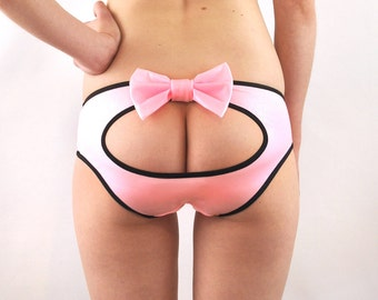 Panties with cut out and bow lingerie
