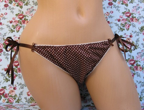 Brown Cotton with Tiny Hearts Tie Side Knickers
