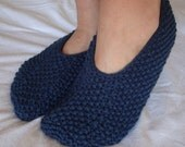 Navy Blue Slippers - Footlets - Womens Small