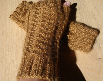 Knit Cable and Lace Fingerless Gloves in Mustard Gold
