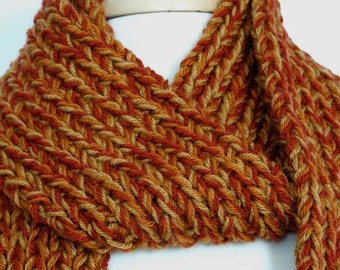 Orange and Gold Rib Knit Extra Long Scarf, Multi-Color, Unisex - Man or Woman