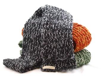 Rib Knit Scarf, Grey and Black, Extra Long,  Unisex, Man or Woman