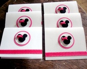 6 Minnie Mouse thank you cards invitation invite note cards hot pink black