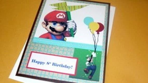 Super Mario Bros Birthday Handmade Card by Arleendesign