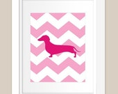 Customizable Chevron Weiner Dog Silhouette - 8x10 Print
