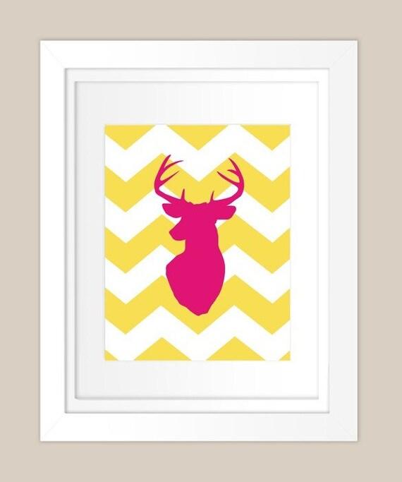 Customizable Chevron Deer Silhouette - 8x10 Print