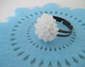 SALE White chrysanthemum adjustable ring FREE DOMESTIC SHIPPING