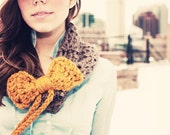 Drawstring cowl with bow- wood and butterscotch
