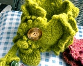 Felted crochet cuff ruffled green with vintage buttons  FREE USA SHIPPING