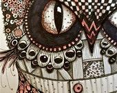Illustration OWL Art Prints by Mary Vogel Lozinak srajd zentangle zen tangle10x14 inches