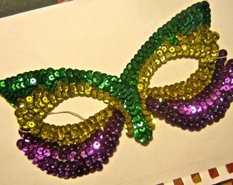 Vintage sequin mask Marde Gras Halloween purple yellow green drw12
