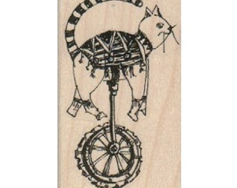 Price Reduced for Holidays! Steampunk Cat on a gear unicycle unmounted rubber stamp  steampunk style designer Mary Vogel Lozinak