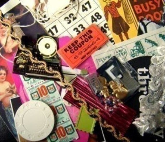 collage scrap pictures ribbons ephemera small objects who knows grab bag surprize