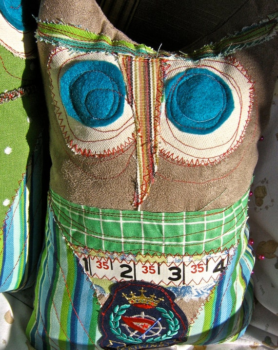 Owl Pillow Retro  vintage carpenters measuring tapeStuffed animal  Christmas gift Owl Pillow Novelty stuffed owl toy