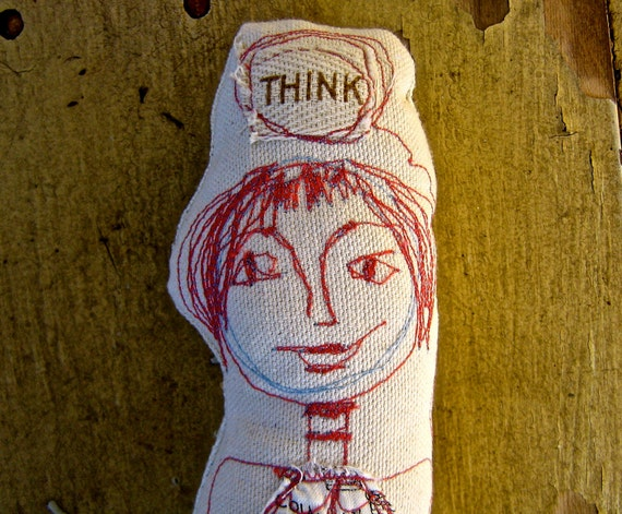 Fabric art doll, embroidered, one of a kind, Silly Girl  tateam