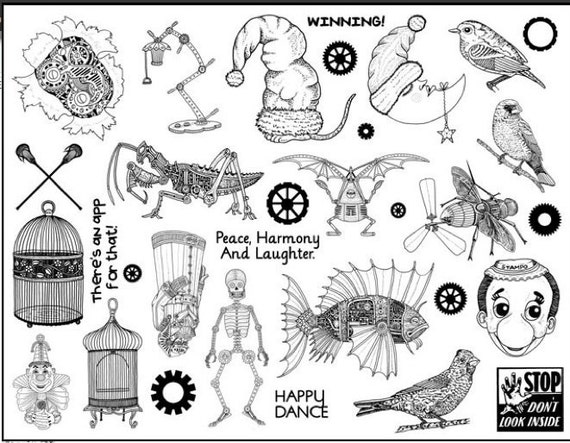 1328 plate of rubber stamps  unmounted steampunk supplies, birds, cages, skeletons, bugs,quotes