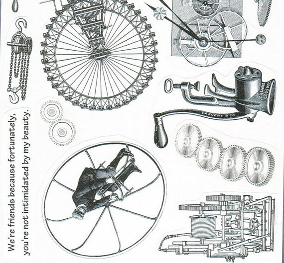 Steampunk industrial rubber stamps  1267  plate of rubber stamps  unmounted  fantasy stamps