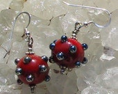Lampwork beads and sterling silver earrings hoops