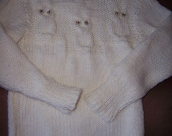 Cream Knit Toddler Owl Sweater Size 6