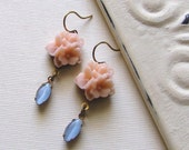 Pale Pink Flower Earrings With Vintage  Blue Moonstones Antique Brass Blue Earrings