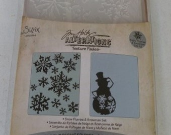 Sizzix, Tim Holtz, Alterations Texture Fades A2 Embossing Folders, Snow Flurries and Snowman,Set 656944
