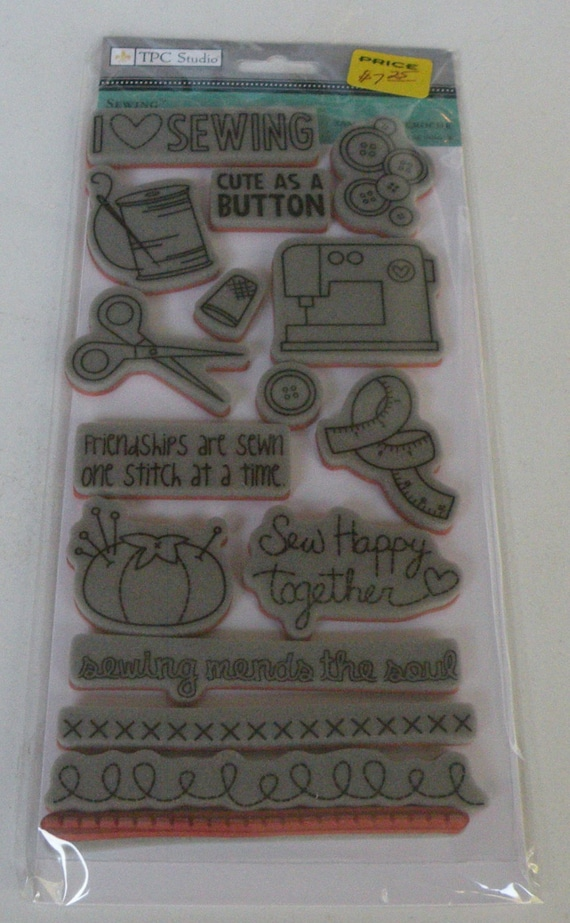 TPC Clear Studio, Sewing Theme Rubber Cling Stamps