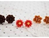 Flower Earring Set - Thanksgiving Trio - Rose Earrings