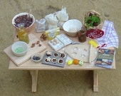 Miniature Christmas baking table 12th scale