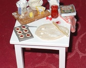 Miniature baking jam tarts and sponge cake 12th scale