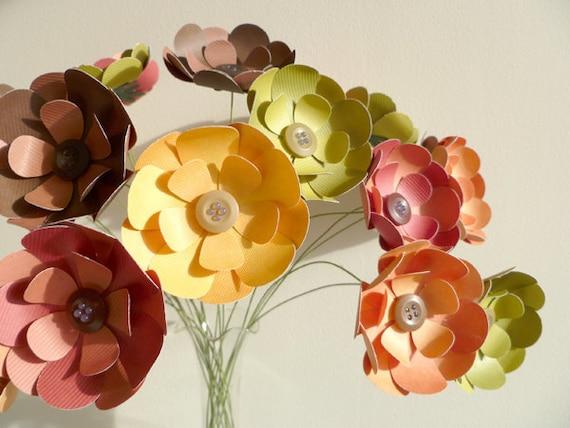 "Paper Flower Bouquet - 20 Long Stem  15"" All Season"