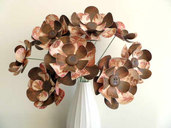 "Paper Flower Bouquet - Chocolate and Rose Antique 12"" stems 12 flowers"