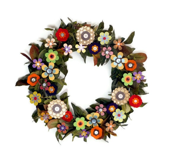 "Wreath - 18"" Colorful Paper Flowers"