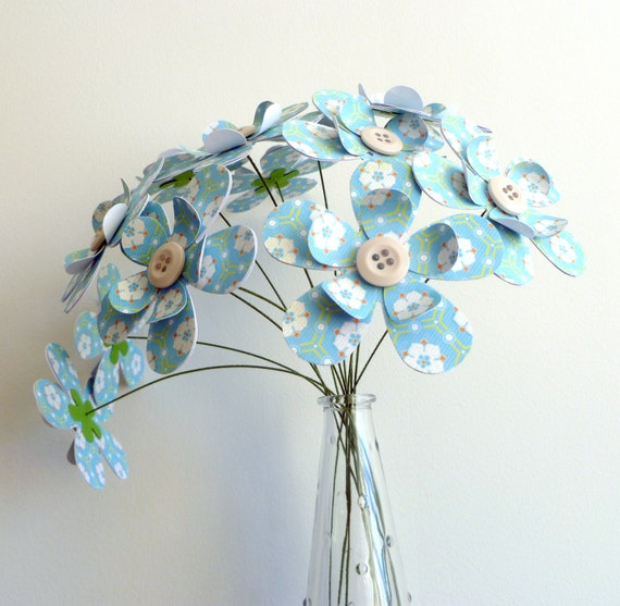 Paper Flower Bouquet - 12 Stem Blue and White Floral Sparkle 12""