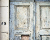 66, original fine art photographic print, 8x11inches, old blue door with rusty chain in Central Greece