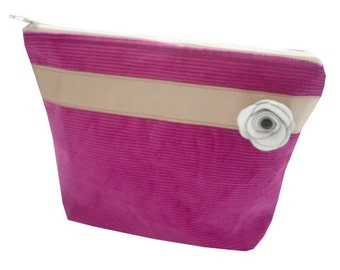 Corduroy Make Up Bag in Hot Pink With Champagne Ribbon and Off-White Leather Rose - Vintage & Kitsch