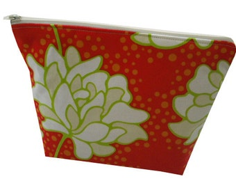 Floral Peony Print Cotton Make Up Bag in Orange, Red and Green - Vintage & Quirky