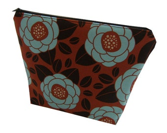 Floral Print Cotton Make Up Bag in Chocolate Brown, Burnt Orange and Blue - Kitsch & Retro