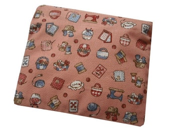 Craft Supplies Print Cotton Coin Purse in Peach and Blue - Quirky & Kitsch