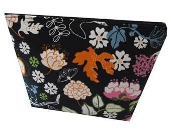 Floral Woodland Print Cotton Make up Bag in Black, Pink, Blue and Green - Vintage & Folk